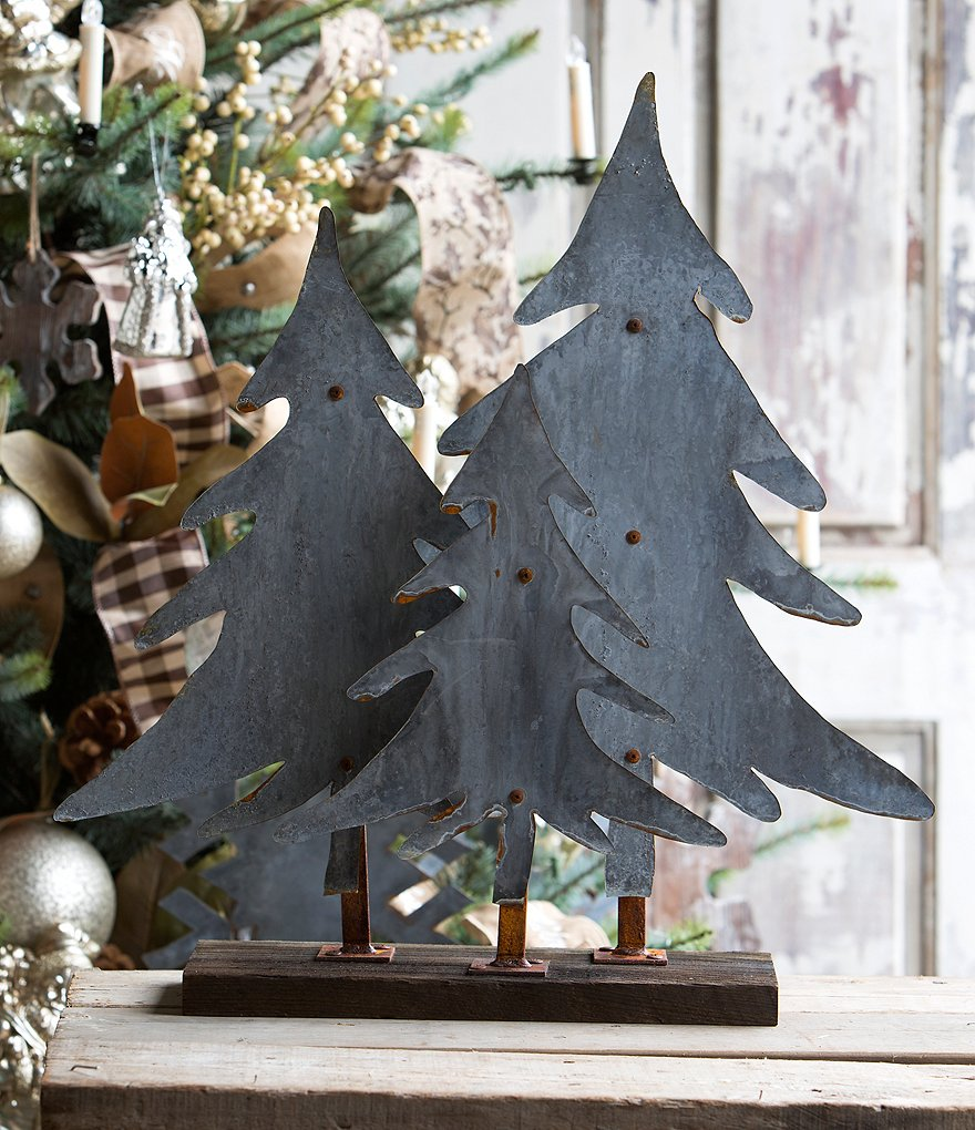 Park Hill Aged Tin Trees Tabletop Decor