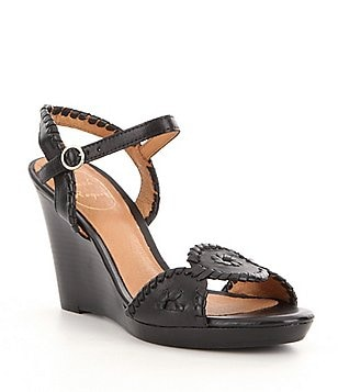 Jack Rogers Clare Leather Rondelle Whiplacing Wedge Sandals