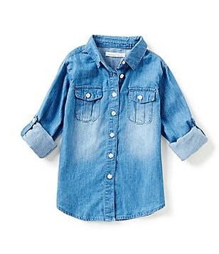 Copper Key Little Girls 2T-6X Chambray Button-Front Shirt