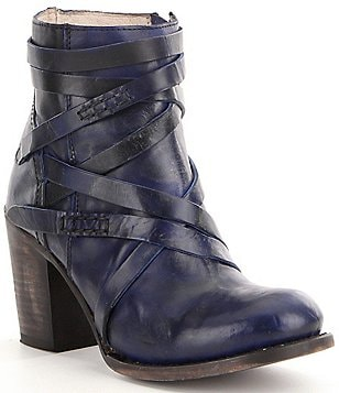 Freebird Gem Leather Side Zip Strappy Block Heel Booties