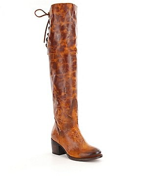 Freebird Rolls Leather Lace Up Detail Over-the-Knee Boots