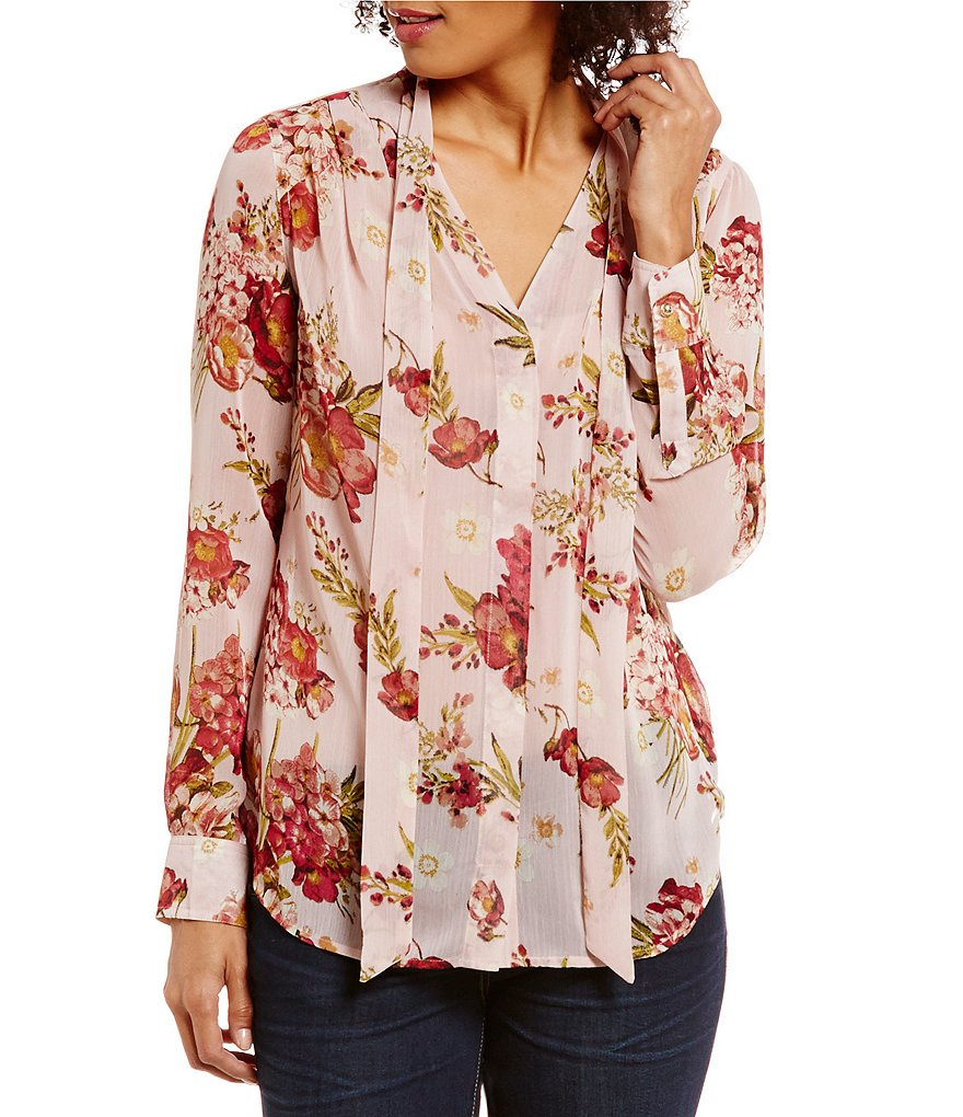 KUT from the Kloth Amelia Tie-Neck Floral Print Blouse