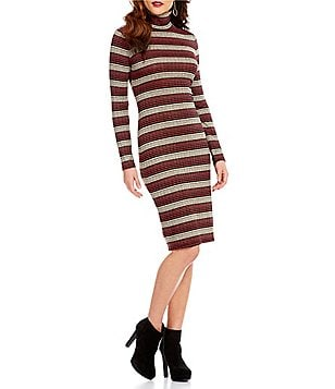 Chelsea & Violet Turtleneck Long Sleeve Striped Dress