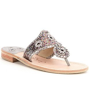 Jack Rogers Cleo Sparkle Fabric Leather Whipstitched Slip On Sandals