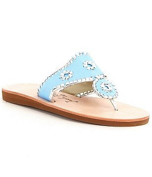Jack Rogers Boating Jacks Canvas & Metallic Whipstitched Slip On Sandals