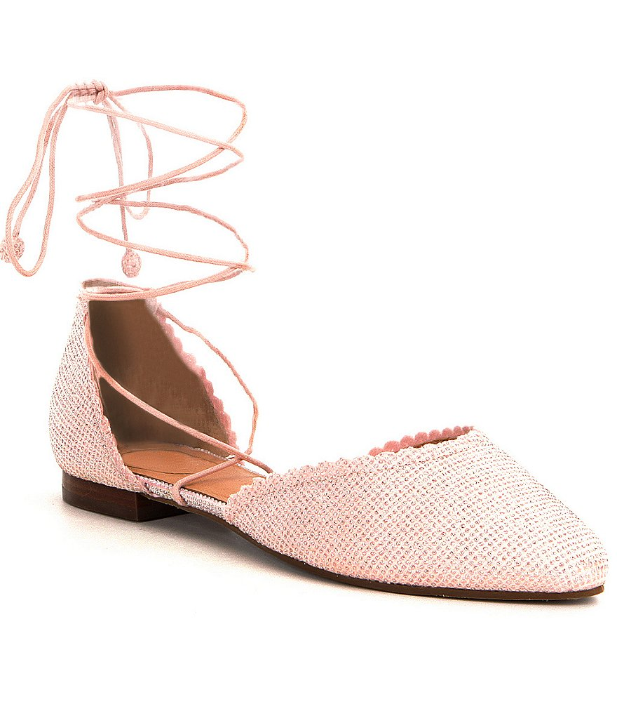 Jack Rogers Camille Scalloped Lace-Up Sparkle Flats