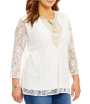Reba Plus Sequin Embroidered Tassel-Tie Neckline Lace Tunic