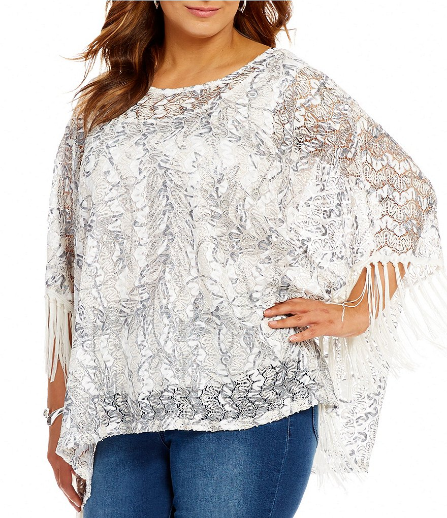 Reba Plus Metallic Lace Scoop Neck 3/4 Sleeve Poncho