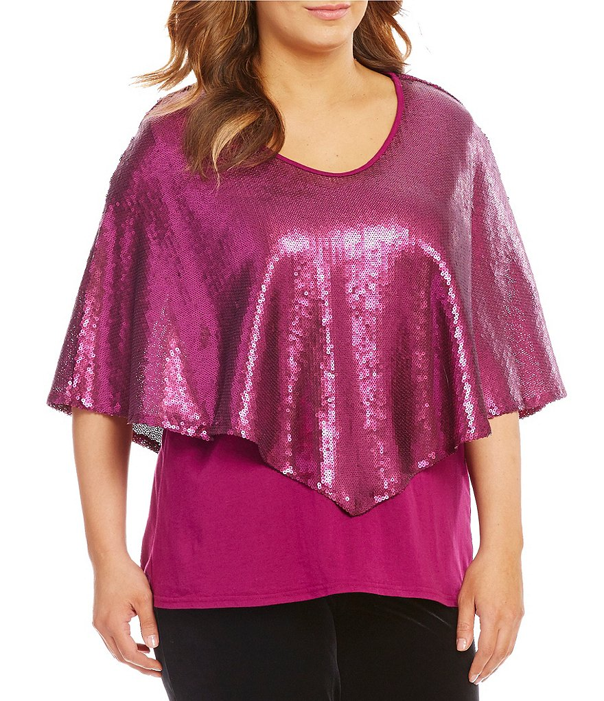 Reba Plus V-Neck Sequin/Knit Capelet