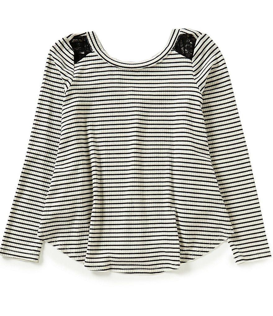 GB Girls Big Girls 7-16 Lace Shoulder Striped Knit Top