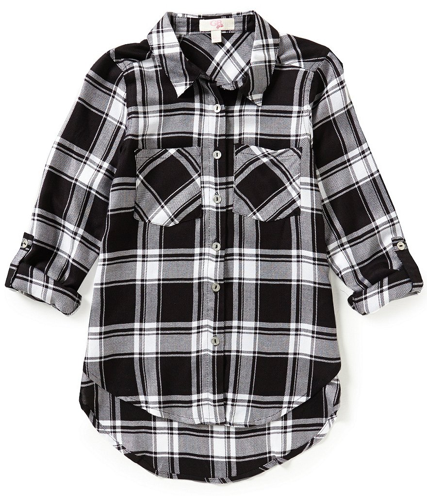 GB Girls Big Girls 7-16 Plaid High-Low Tunic