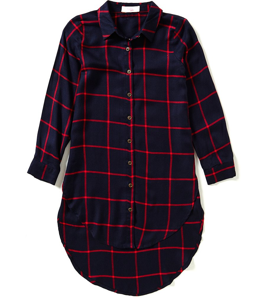 GB Girls Big Girls 7-16 Woven Plaid Top