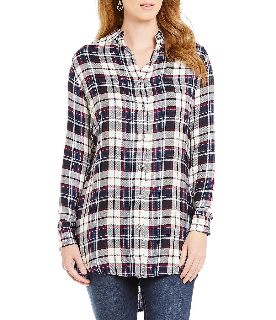 Jag Jeans Magnolia Plaid Button-Front Tunic
