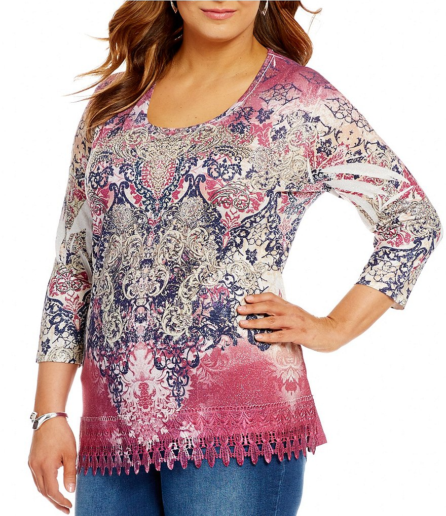 Reba Plus Metallic Print 3/4 Sleeve Stone Embellished Lace Trim Sweater Knit Top