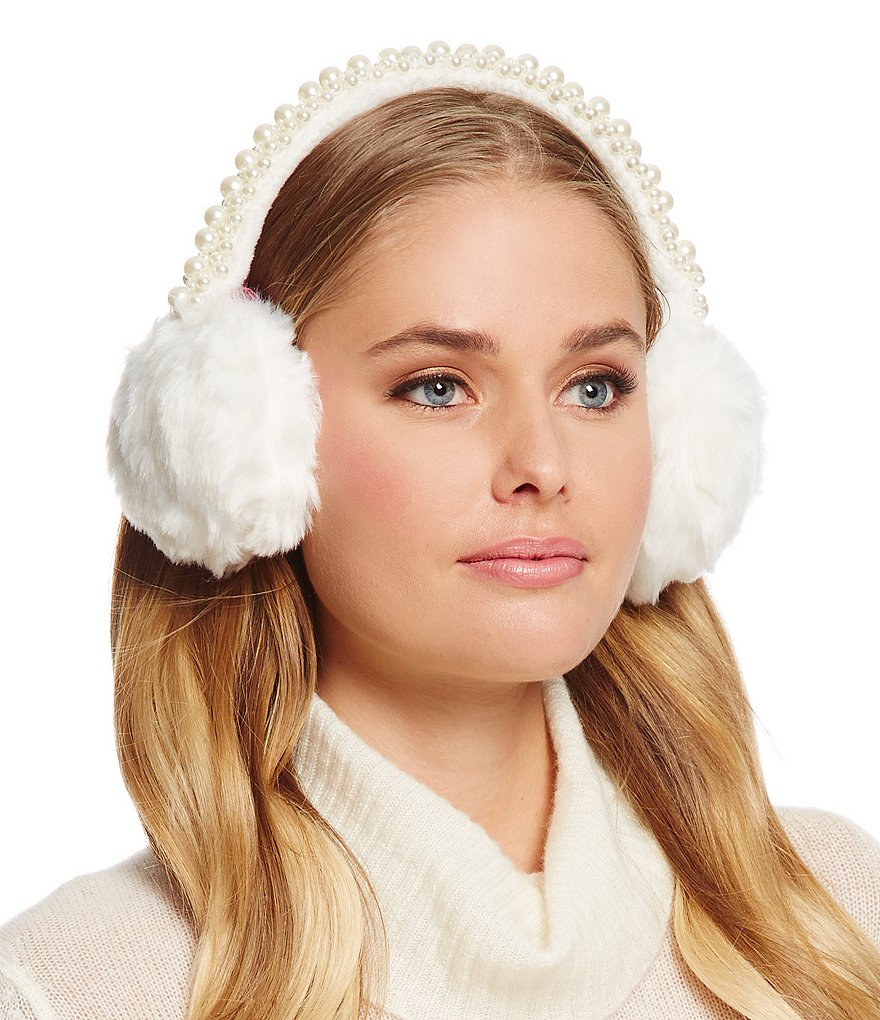 Betsey Johnson Pearl Faux-Fur Ear Warmers