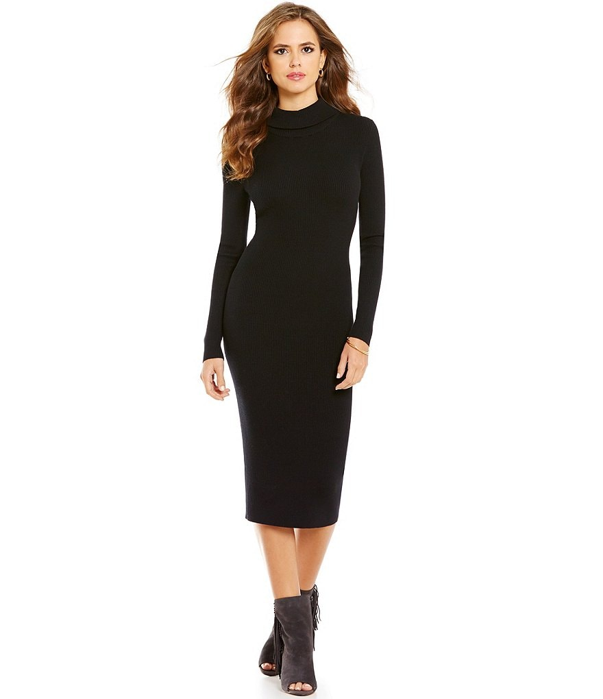Gianni Bini Rochelle Rib Turtleneck Midi Sweater Dress