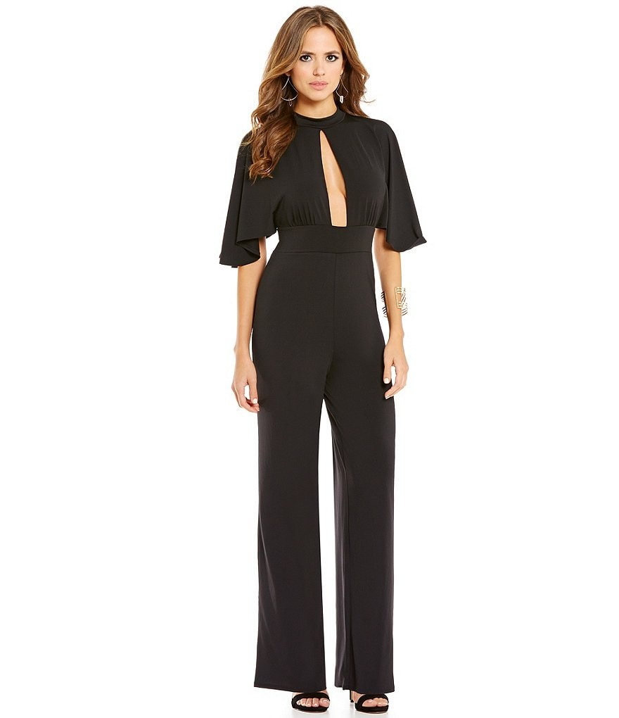 Gianni Bini Ramona Choker Neck Short Sleeve Solid Jumpsuit