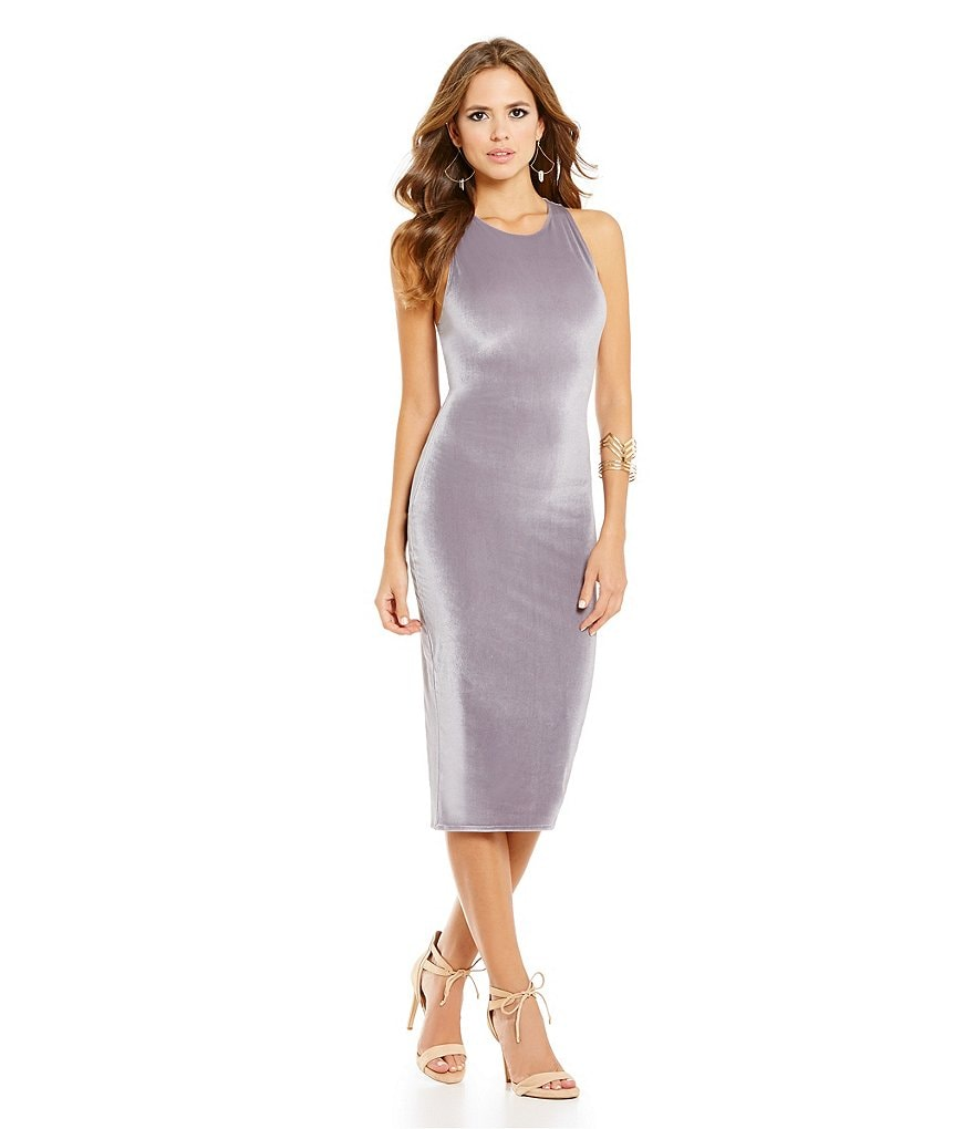 Gianni Bini Brynn Crew Neck Midi Velvet Sheath Dress
