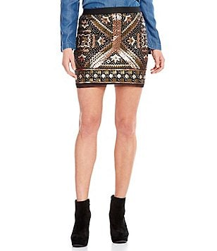 Chelsea & Violet Sequin Mesh Printed Pencil Mini Skirt