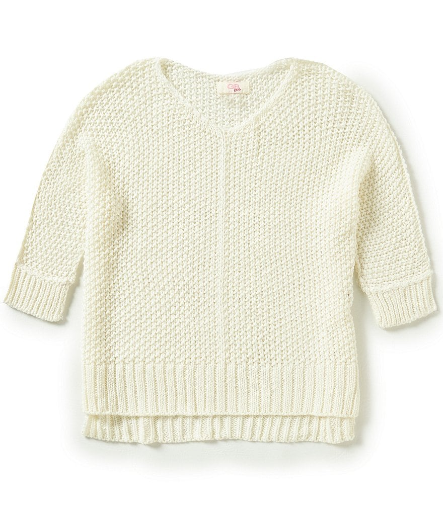 GB Girls Big Girls 7-16 Cable-Knit Dolman Sweater
