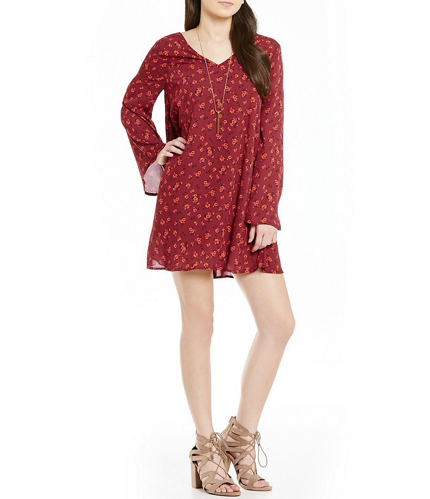 Copper Key Ditzy Floral Printed Bell-Sleeve X-Back Swing Dress