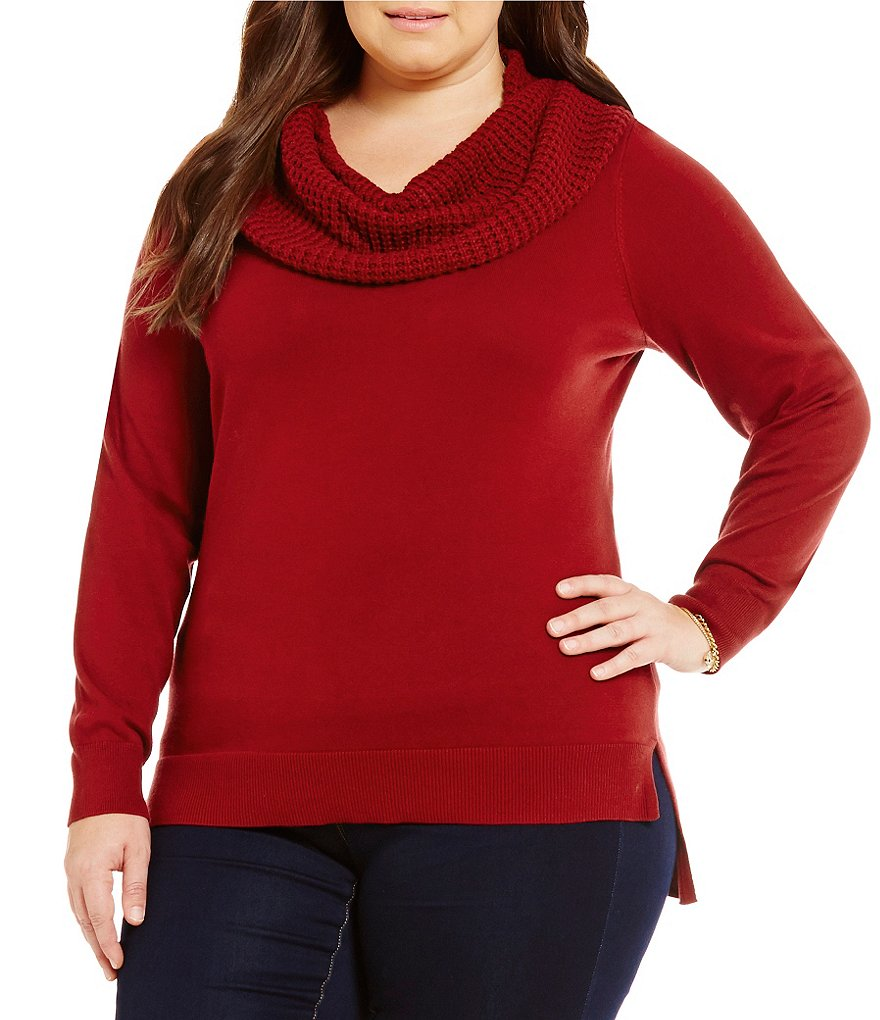 MICHAEL Michael Kors Plus Waffle Cowl Neck Sweater