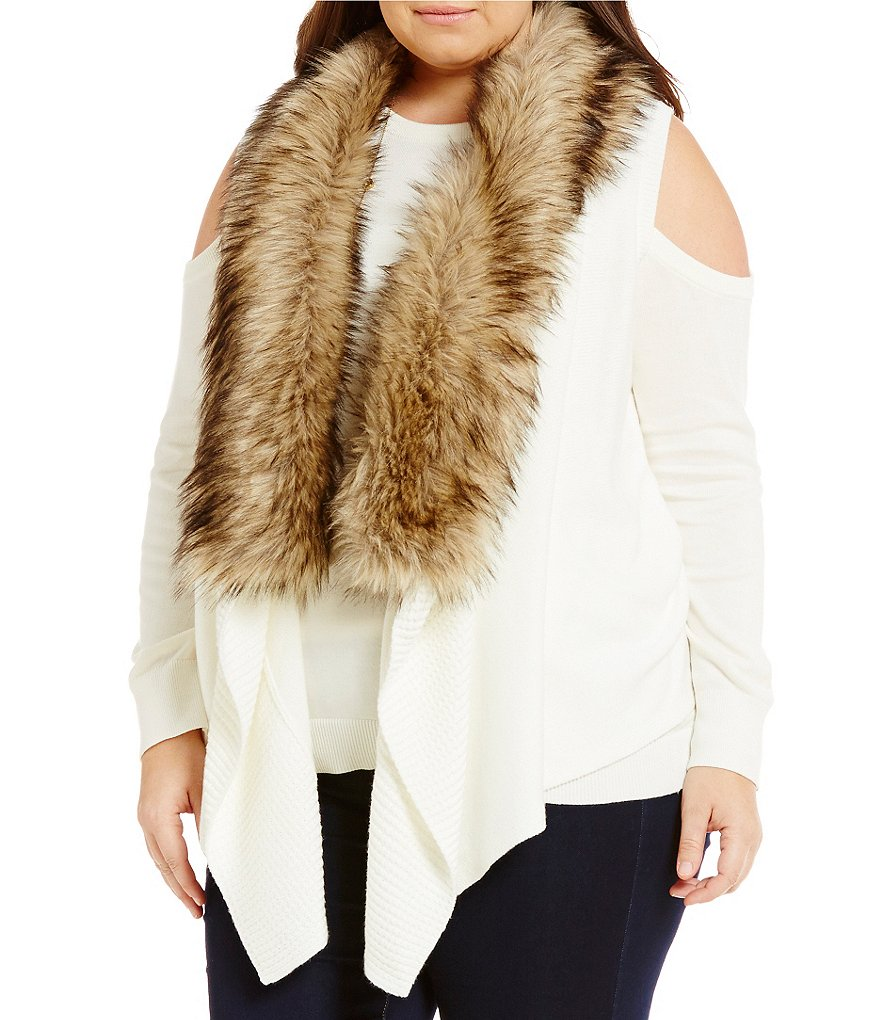 MICHAEL Michael Kors Plus Faux Fur Collar Sweater Vest