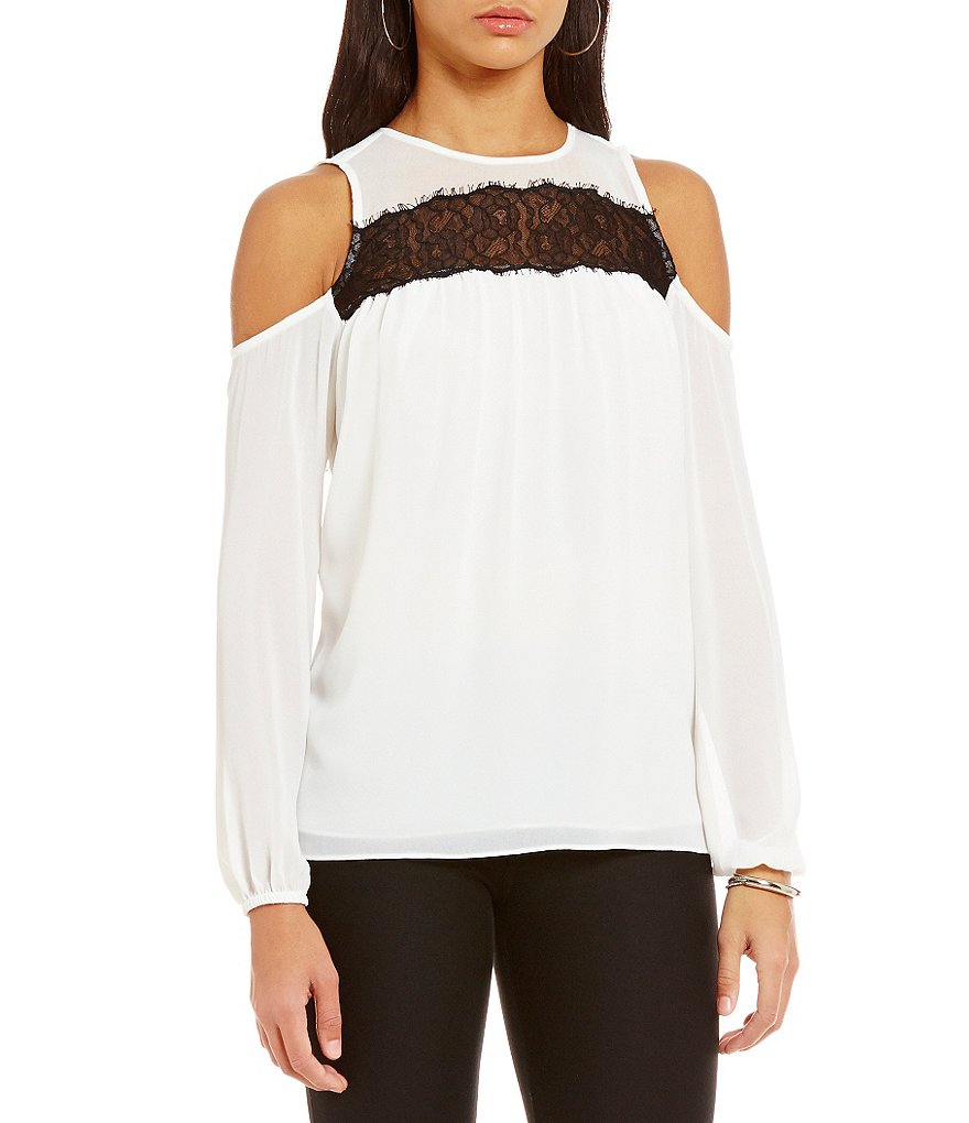 MICHAEL Michael Kors Lace Trim Cold-Shoulder Georgette Top