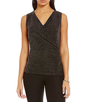MICHAEL Michael Kors Metallic Dot Mesh Knit Faux-Wrap Sleeveless Top