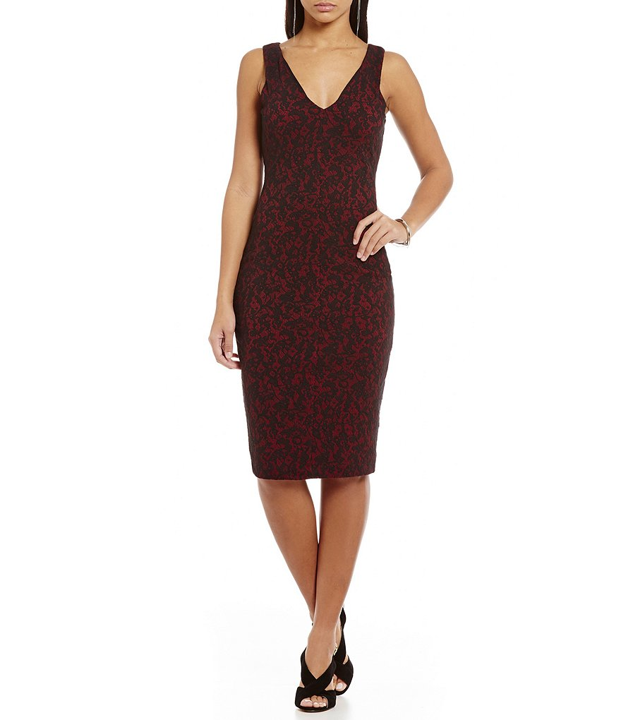 MICHAEL Michael Kors Umbria Lace Print Textured Jacquard Knit Sheath Dress