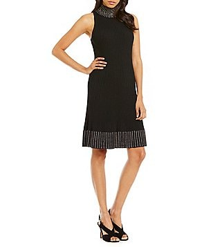 MICHAEL Michael Kors Rhinestone Embellished Ribbed Sweater Flare Dress