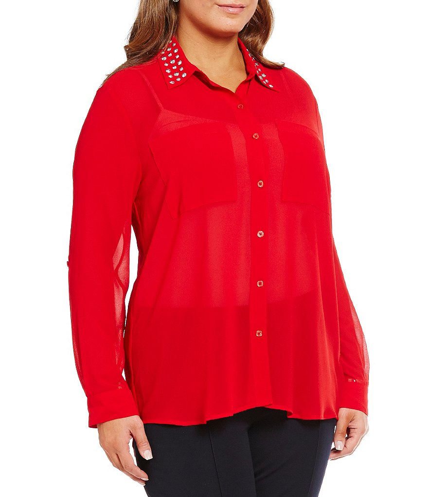MICHAEL Michael Kors Plus Studded-Collar Roll-Tab Hi-Low Georgette Shirt