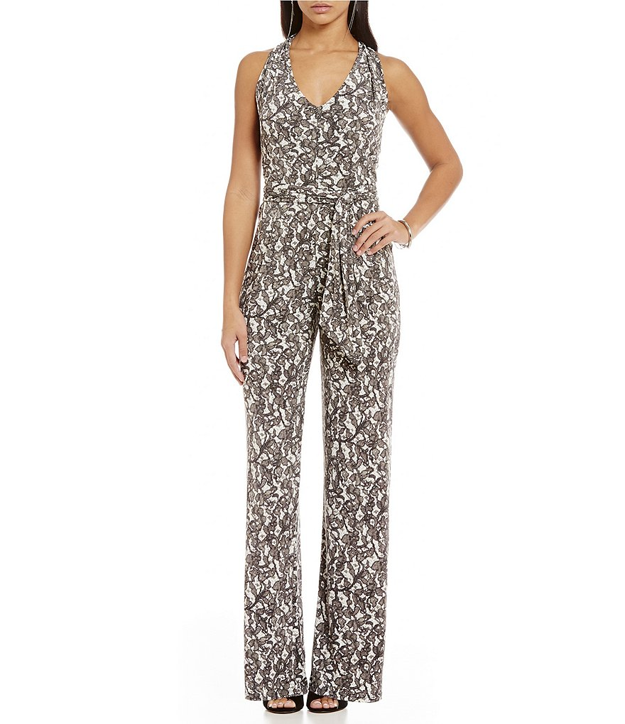 MICHAEL Michael Kors Umbria Lace Printed Halter Neck Wide-Leg Jumpsuit