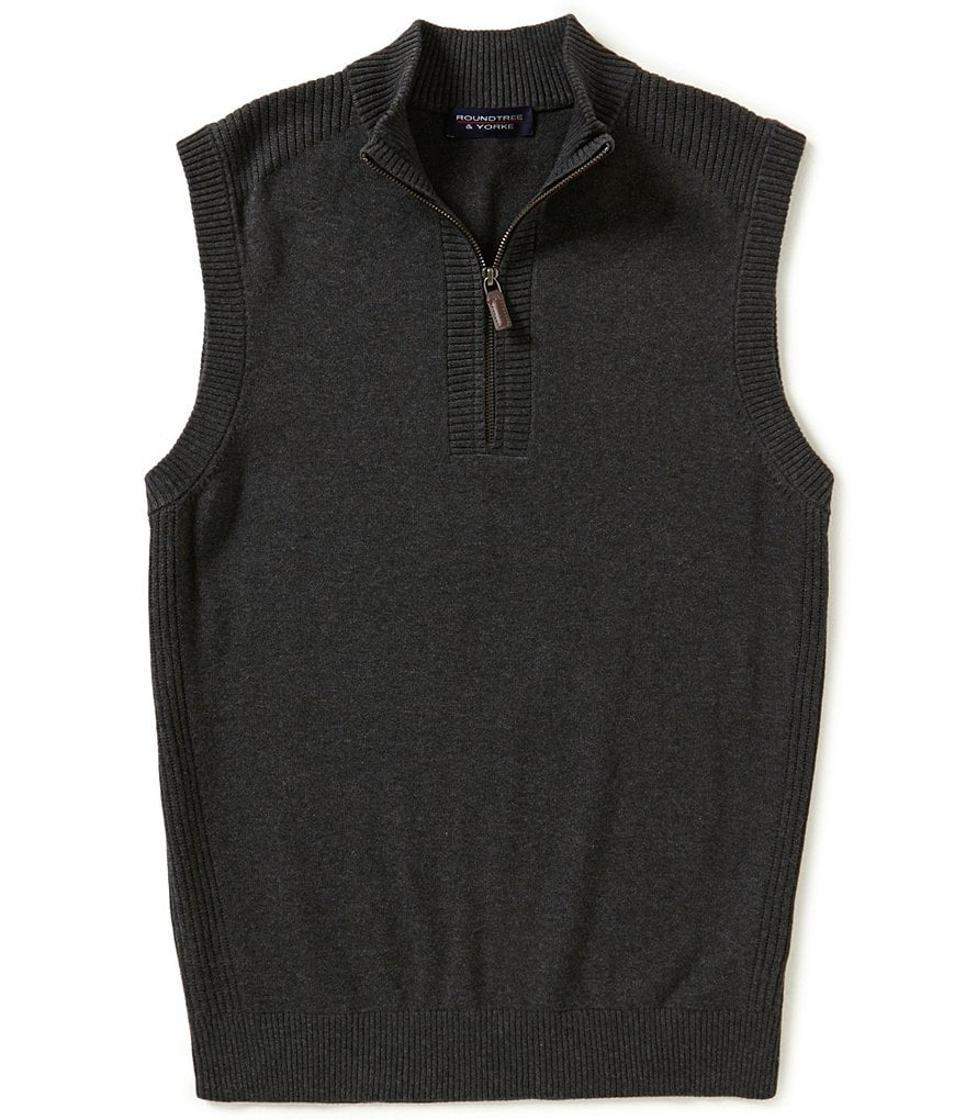 Roundtree & Yorke Big & Tall Quarter-Zip Sweater Vest