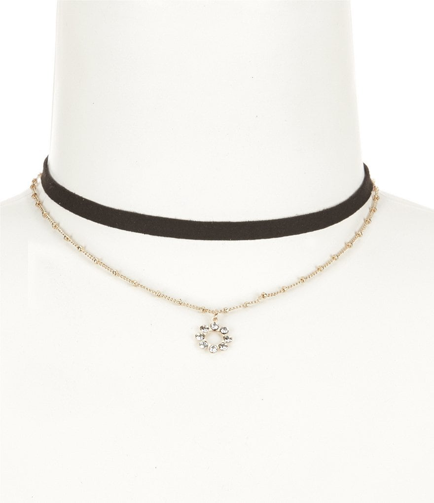 Anna & Ava Faux-Suede Ribbon & Chain Choker Necklace