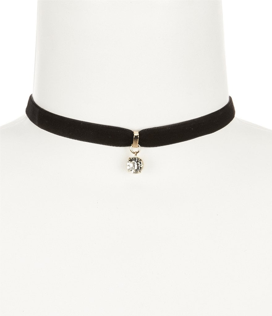 Anna & Ava Rhinestone Drop Velvet Choker Necklace