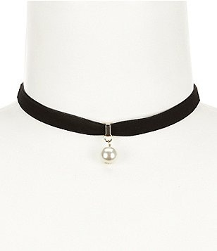 Anna & Ava Faux-Pearl Drop Velvet Ribbon Choker Necklace