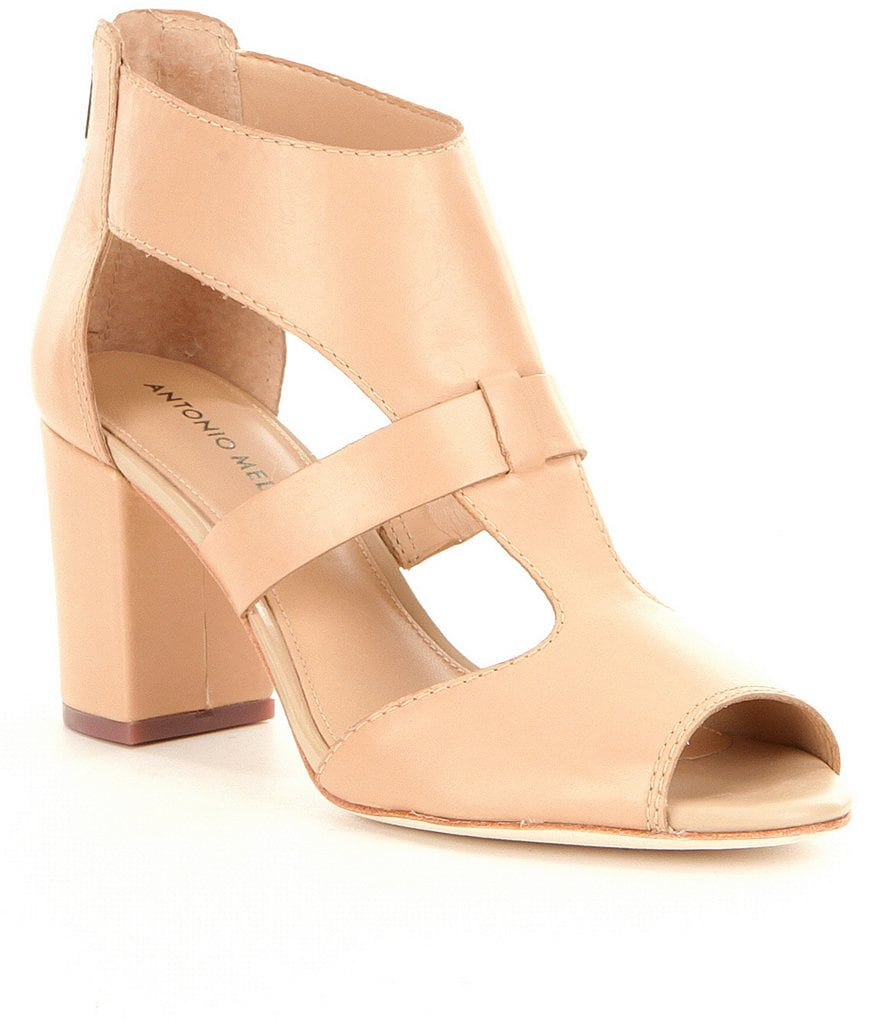 Antonio Melani Skarly Leather Peep-Toe Block Heel Pumps
