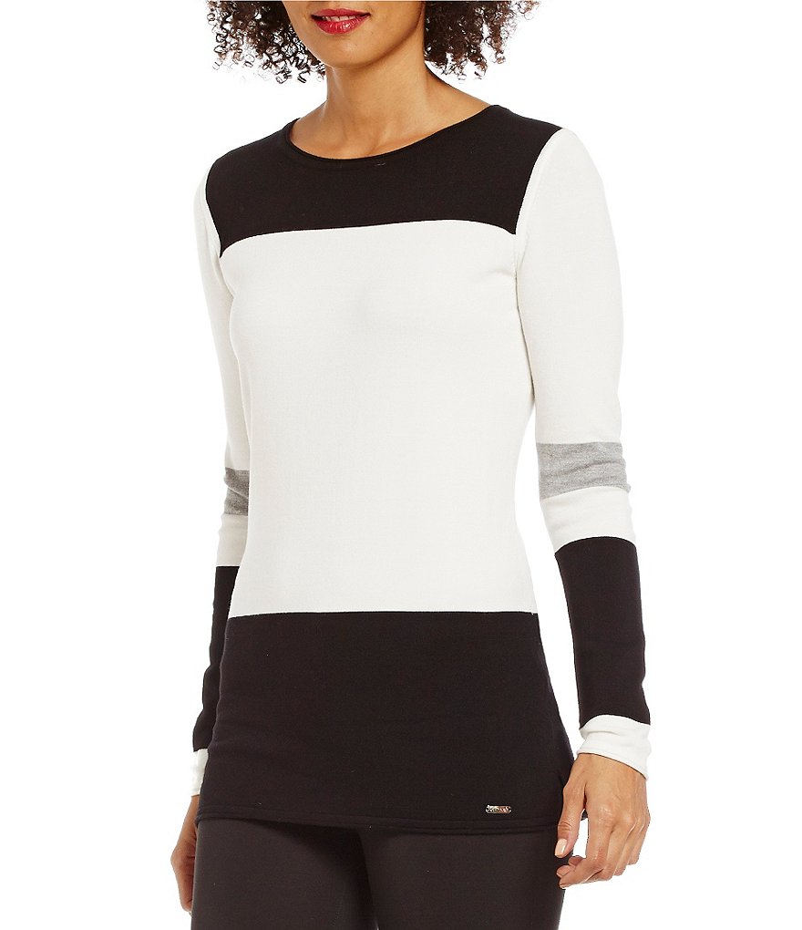 Calvin Klein Crew Neck Straight Hem Colorblock Knit Sweater