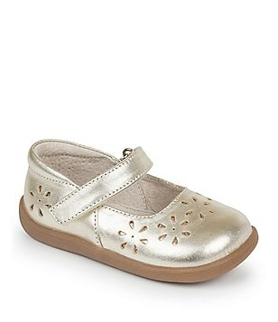 See Kai Run Girl´s Ginger II Metallic Leather Floral Cutout Strap Flats