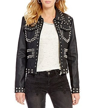 Chelsea & Violet Faux-Leather Studded Jacket