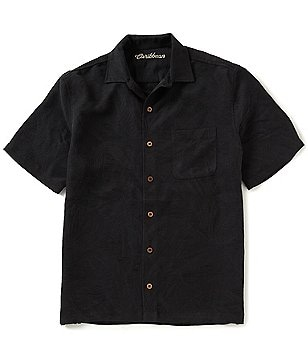 Caribbean Short-Sleeve Solid Bird Paradise Jacquard Camp Shirt