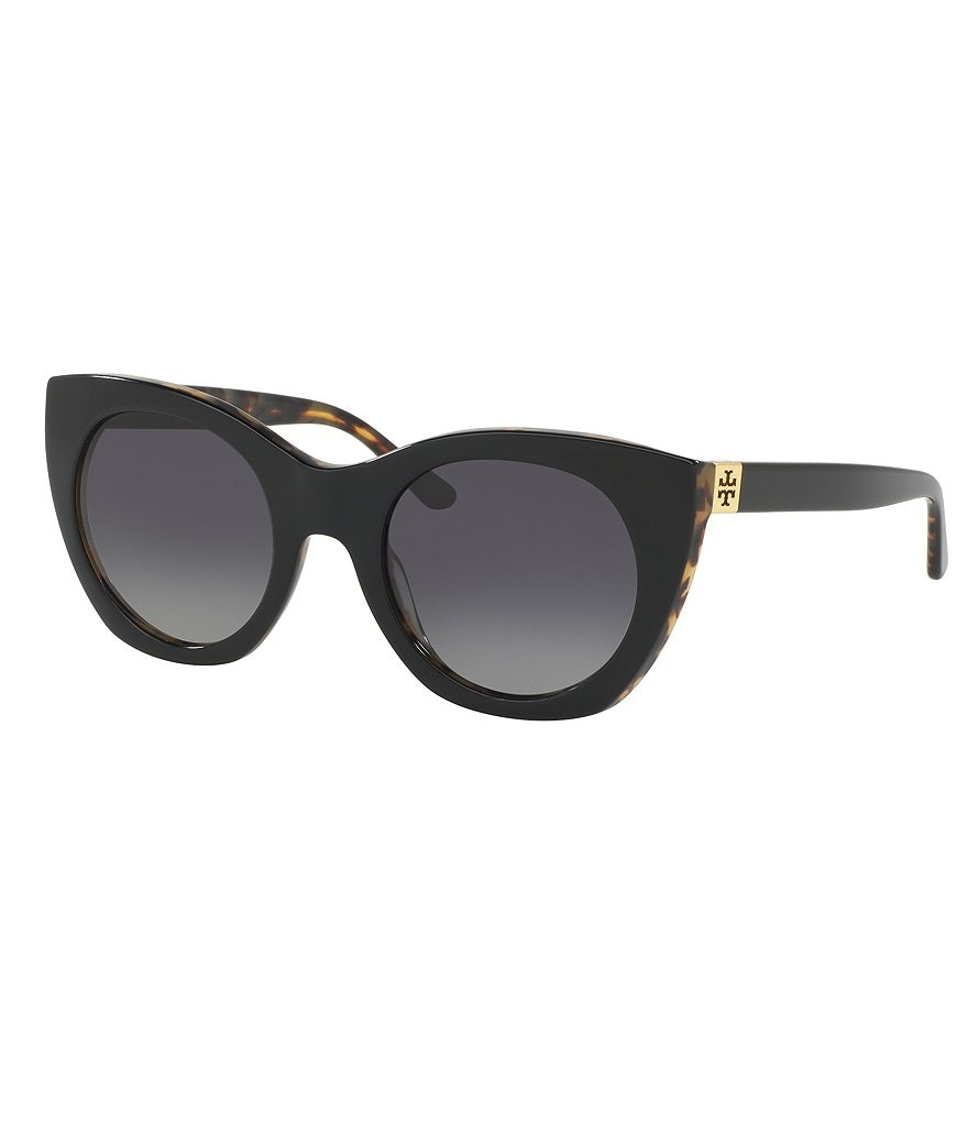Tory Burch Polarized Pierced-T Cat-Eye Sunglasses