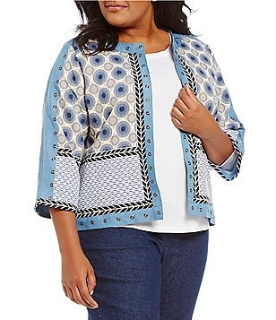 Multiples Plus 3/4 Sleeve Embellished Quilted Print Knit Jacket