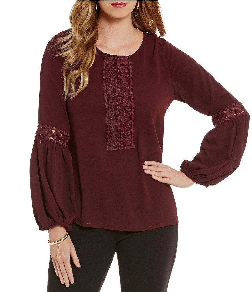 Gibson & Latimer Scoop Neck Bell Sleeve Boho Blouse
