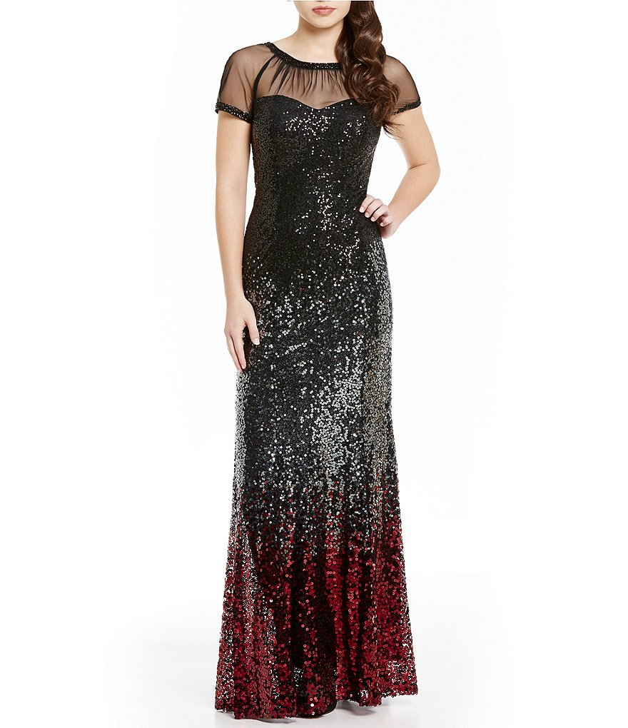 Ignite Evenings Sheer Beaded Neck Sequin Gown