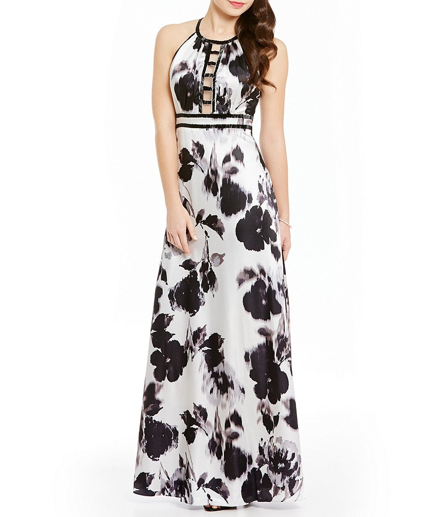 Ignite Evenings Beaded Ladder Halter Neck Printed Gown