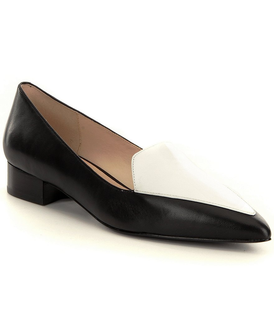 Cole Haan Dellora Color Block Pointed Toe Slip-On Skimmer Flats