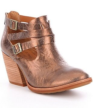 Kork-Ease Stina Metallic Leather Strap & Buckle Side Cutout Booties