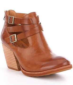 Kork-Ease Stina Leather Buckle & Strap Detail Block Heel Booties
